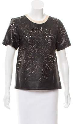 3.1 Phillip Lim Short Sleeve Leather Top