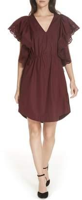 See by Chloe Eyelet Ruffle Sleeve Dress