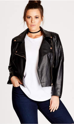 City Chic Zip Biker Pleather Jacket - Black