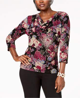 MSK Cowl-Neck Floral Lace Blouse