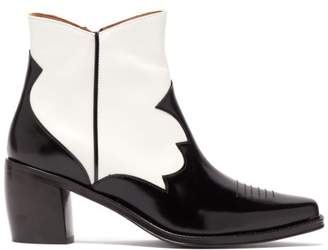 ALEXACHUNG Western Style Leather Ankle Boots - Womens - Black White