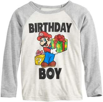 "Boys 4-12 Jumping Beans Super Mario Bros. ""Birthday Boy"" Raglan Graphic Tee"