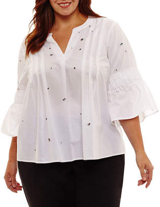 A.N.A 3/4 Sleeve Y Neck Embellished Woven Blouse - Plus