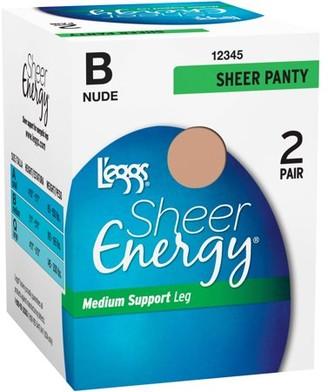 Hanes Sheer Energy L'eggs Women's Medium Support Sheer Panty Pantyhose, 2 Pair