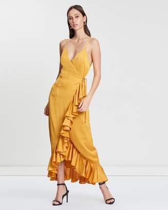 Shona Joy Cocktail Ruffle Wrap Midi Dress