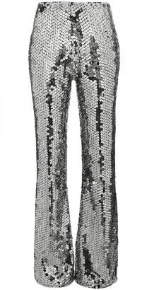 Filles a papa Mid-Rise Silver Sequin Embellished Flared Trousers