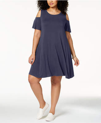 Style&Co. Style & Co Plus Size Flutter-Sleeve Cold-Shoulder Dress, Created for Macy's