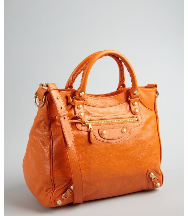 Balenciaga orange leather 'Giant 12' convertible tote
