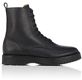 Barneys New York Men's Grained Leather Side-Zip Boots-Black