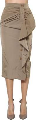 Max Mara Ruffled Nylon Taffeta Pencil Skirt