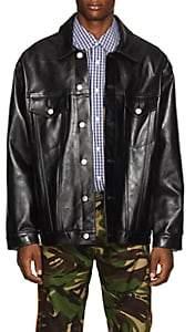 Martine Rose Men's Oversized Leather Trucker Jacket - Black