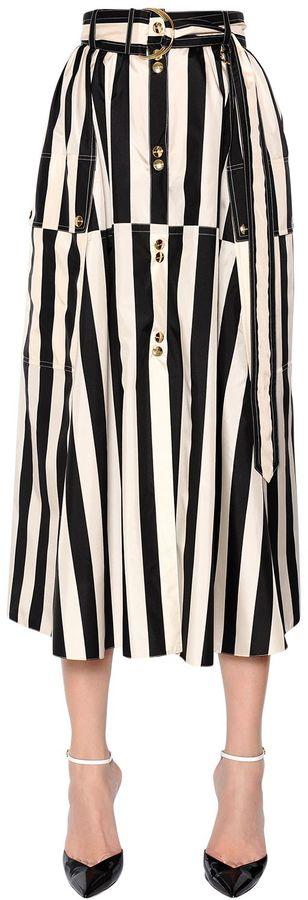 Nina RicciStriped Silk Satin Midi Skirt