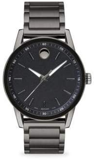 Movado Museum Sport Round Gray PVD and Black PVD Bracelet Watch