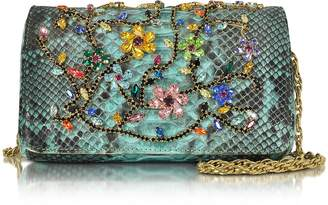 Ghibli Turquoise Python Mini Crossbody Bag w/Multicolor Crystals
