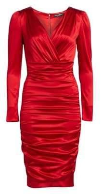 Dolce & Gabbana Ruched Satin Long Sleeve Dress