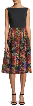 Lela Rose Boat-Neck Sleeveless Fit-and-Flare Cocktail Dress w/ Multicolor Skirt