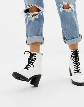 Faith Barc chunky heeled hiker boots in white