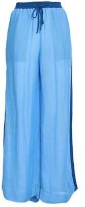 Diane von Furstenberg Two-Tone Linen-Blend Gauze Wide-Leg Pants