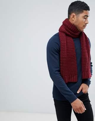 Asos Design DESIGN knitted scarf in burgundy
