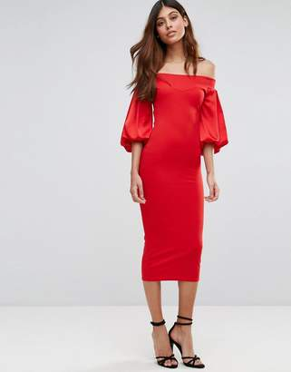 TFNC Off Shoulder Midi Dress With Blouson Sleeve