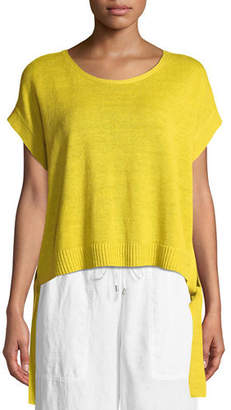 Eileen Fisher Organic Linen Side-Tie Short Poncho Top