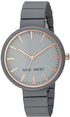 Nine West Women's NW/2012GYRG Matte Rubberized Bracelet Watch