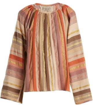 Ace&Jig Farrah Gathered Neck Striped Cotton Blend Blouse - Womens - Multi