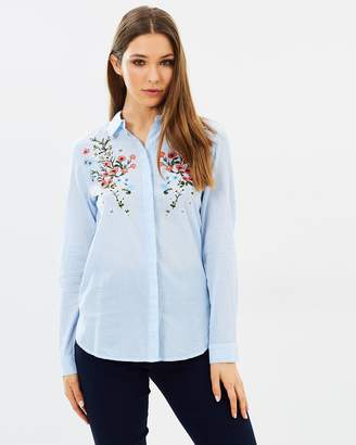 Warehouse Freida Embroidered Stripe Shirt