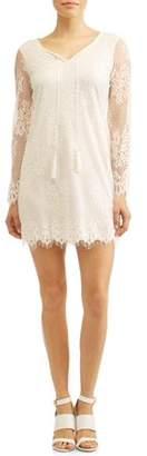 Tiana B Women's Eyelash Lace Long Sleeve Shift Dress