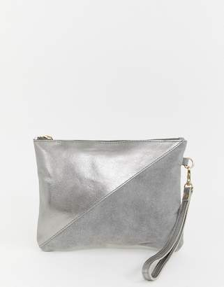Urban Code Urbancode metallic silver real leather clutch with wrist strap