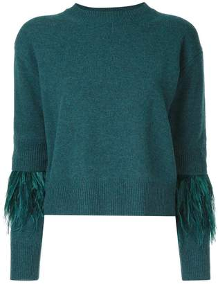 Le Ciel Bleu fringed sleeve knitted top
