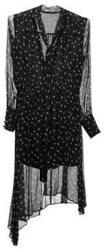 Mo&Co. Printed Silk Shift Dress