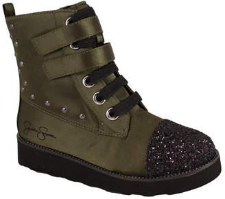 Trimfoot Olive Satin Combat Boot