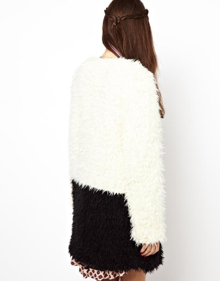 MinkPink Color Block Coat In Faux Fur