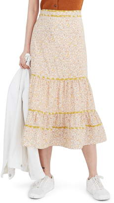 Madewell Blossoming Vines Mix Print Tiered Midi Skirt