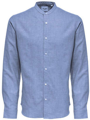 ONLY & SONS Melange Long-Sleeve Cotton Sport Shirt