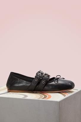 Miu Miu Buckled Nappa Leather Flats