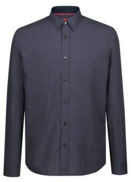 HUGO Boss Relaxed-fit shirt in cotton tweed heathered check pattern M Dark Green