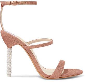 Sophia Webster Rosalind Crystal-embellished Glittered Canvas Sandals - Metallic
