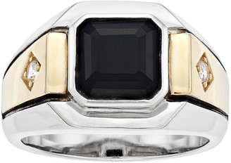 Men's Two Tone Sterling Silver Onyx & Lab-Created White Sapphire Ring