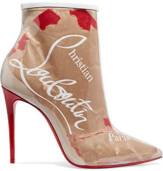 Christian Louboutin So Kate 100 Logo-print Pvc Ankle Boots - Beige