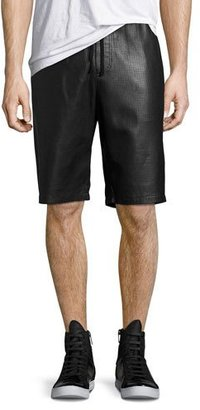 Daniel Won Perforated Leather Shorts, Black $575 thestylecure.com