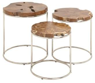 DecMode Decmode Set of 3 natural 19, 21, and 24 inch textured teak wood round nesting tables, Brown