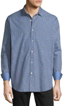 Bugatchi Men's Classic-Fit Button & Gingham Print Sport Shirt