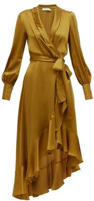 Zimmermann Espionage Wrap Silk Midi Dress - Womens - Gold