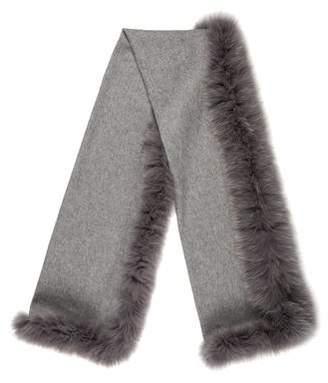 Neiman Marcus Cashmere Fur-Trimmed Shawl