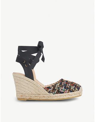 LK Bennett Tianna tie-up tweed sandals
