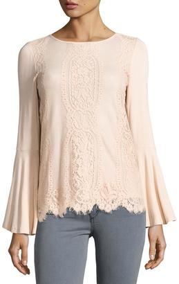 Neiman Marcus Lace-Front Bell-Sleeve Top, Flesh $59 thestylecure.com
