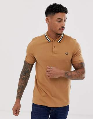 84ee8225c1 Fred Perry stripe collar polo in camel