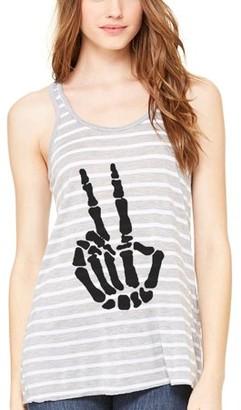 Clementine Apparel Women's Handbones Printed Flowy Racerback Tank Top